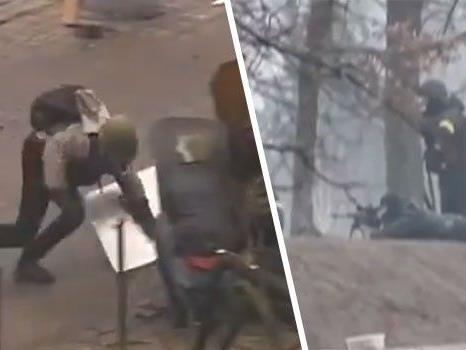 Schockierende Videos zeigen, wie die Gewalt in Kiew eskaliert.
