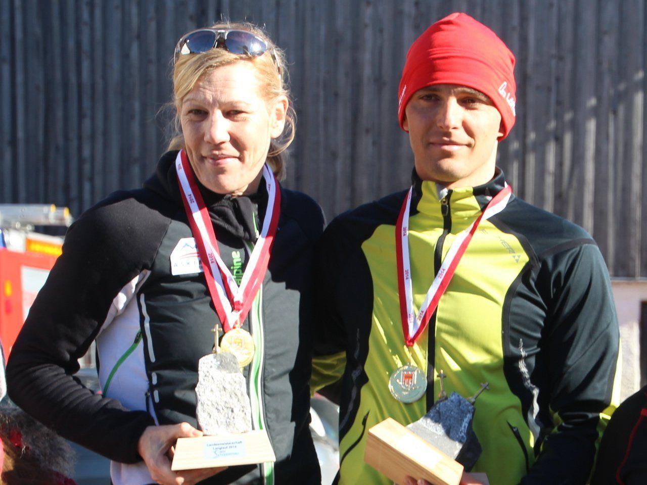 Dagmar Fink und die beiden Sutter holten sich den Landesmeistertitel im Langlauf in Schoppernau.