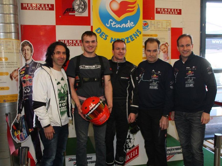Die Organisatoren Joe Dür mit Egon Allgäuer, dem Motorsport-Ass Sandro Bickel und FP Klubobmann Dieter Egger.
