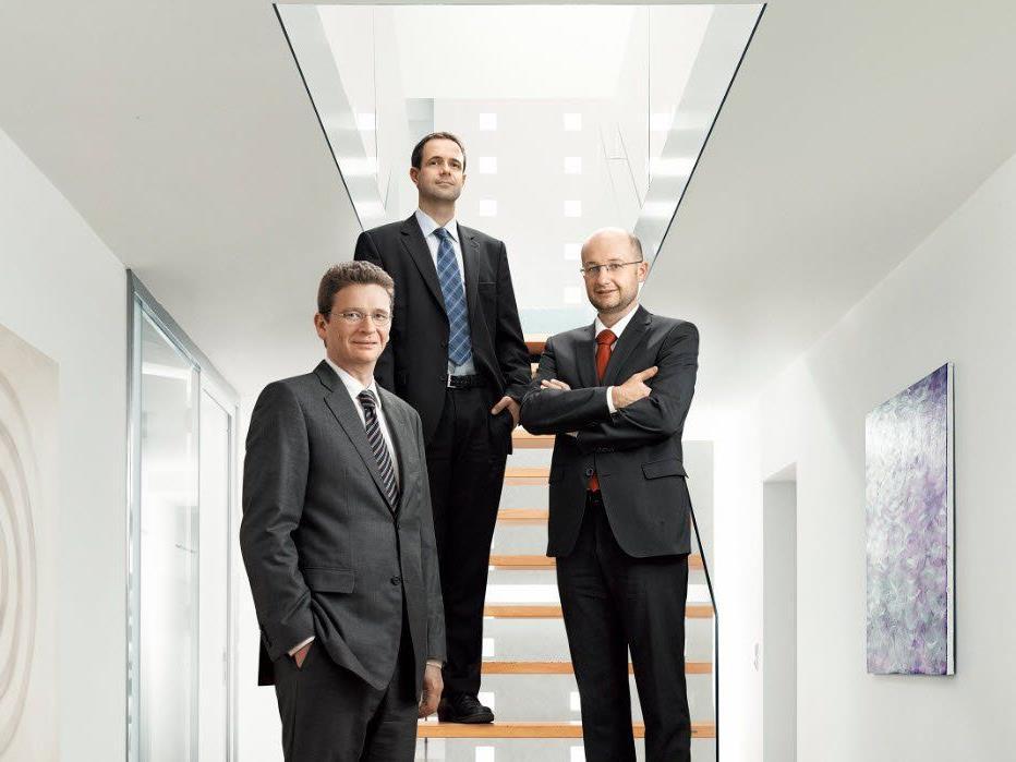 Die Gesellschafter der TWP Rechtsanwälte: Dr. Viktor Thurnher LL.M., Mag. Lukas Pfefferkorn und Dr. Alexander Wittwer LL.M. (v.l.)