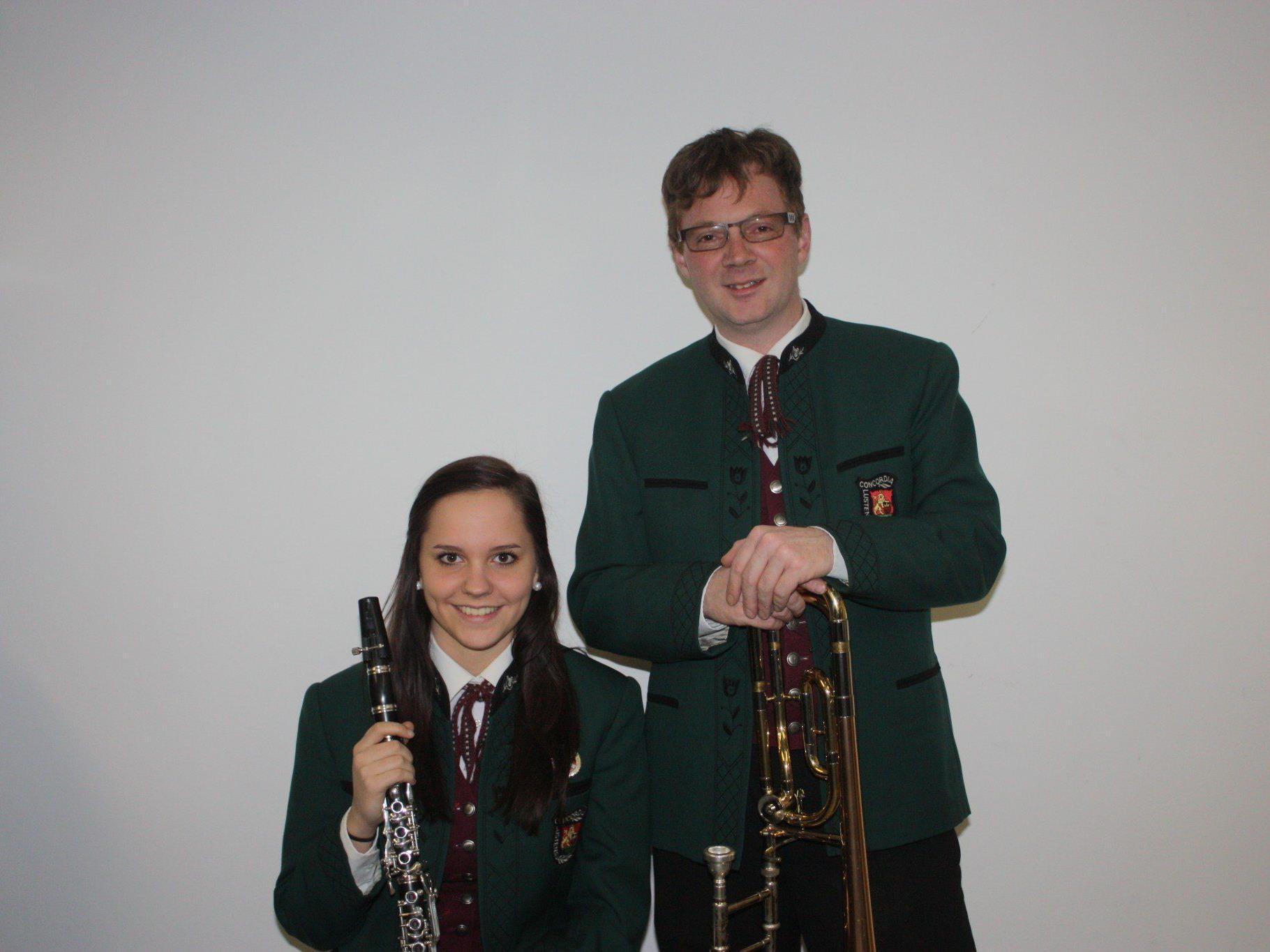 Christina Neururer und Manuel Vogt bereiten sich aufs Frühjahrskonzert des MV Concordia vor