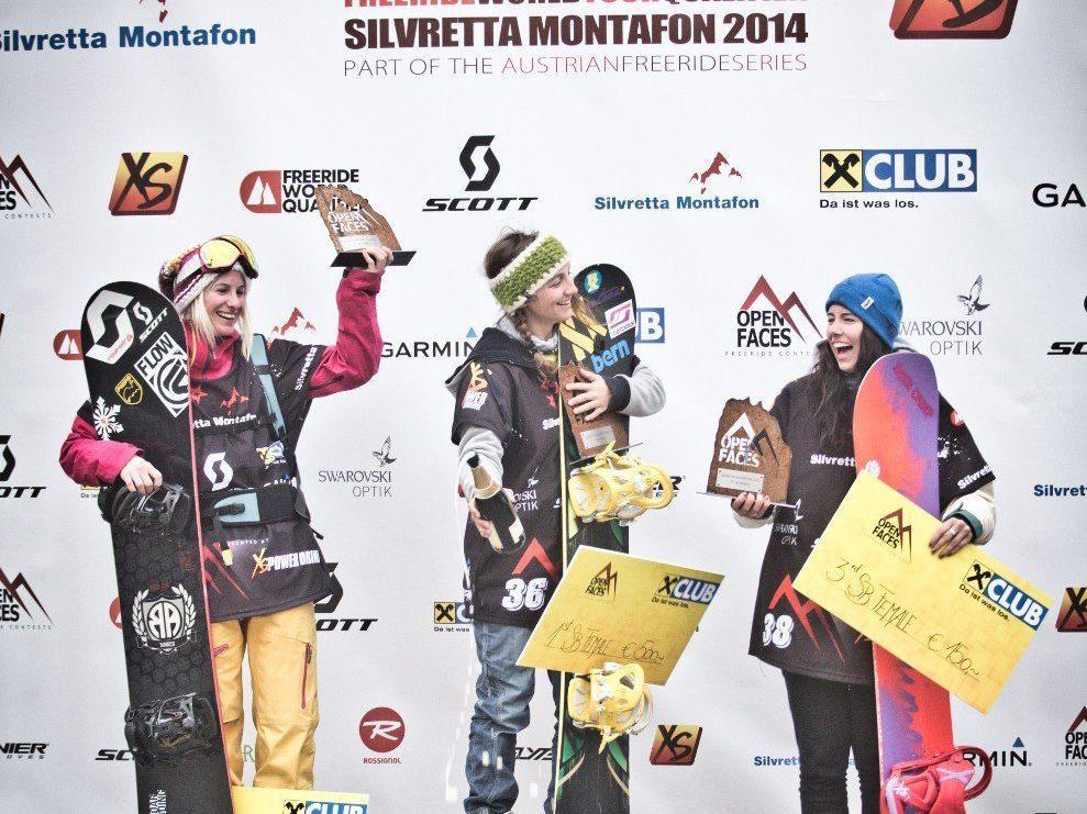 Snowboard-Damen v.l.n.r.: Liz Kristoferitsch, Manuela Mandl und Siobhan Challis.