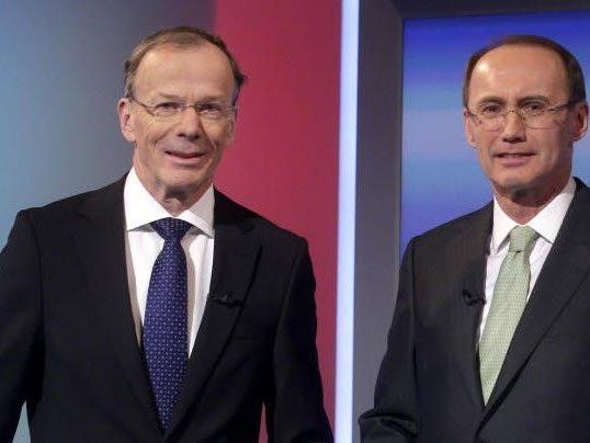 Die Spitzenkandidaten für die EU-Wahl, Eugen Freund (SPÖ) und Othmar Karas (ÖVP)