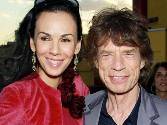 """Mick Jagger und L'Wren Scott beim """"RX Haiti Benefit"""" in New York."""