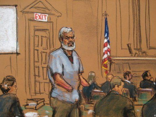 Zeichnung von Abu Hamza vor Gericht in New York