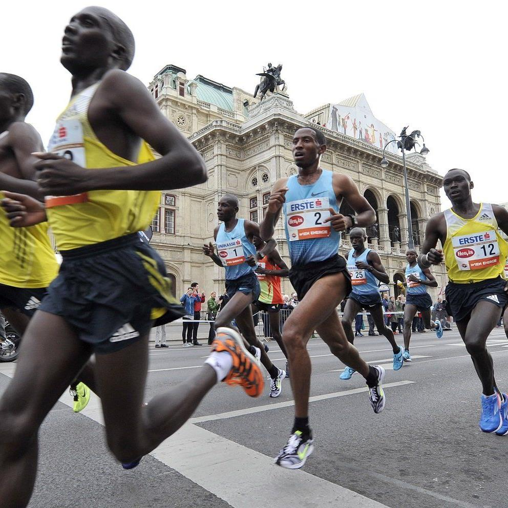 Getu Feleke (Starnummer 2) gewann den Wien-Marathon 2014.