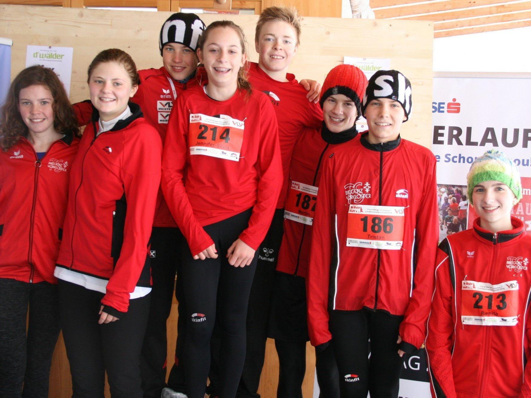 Die erfolgreichen Läufer der TS Bregenz-Vorkloster der Klassen U-14- bis U-20.