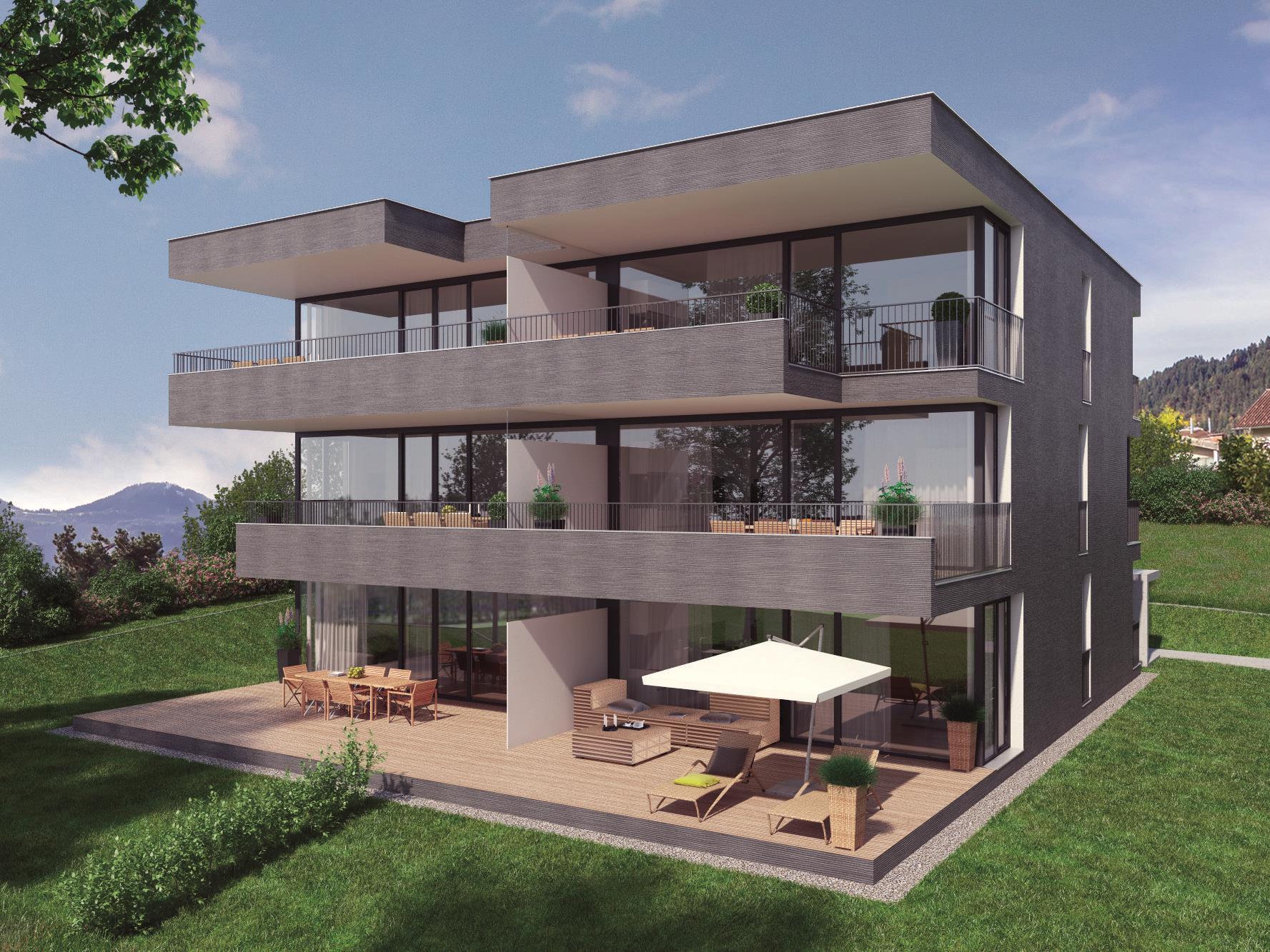 Am Walserweg entstehen drei Häuser mit jeweils nur 6 Wohnungen mit traumhaftem Blick über die Alpenstadt.