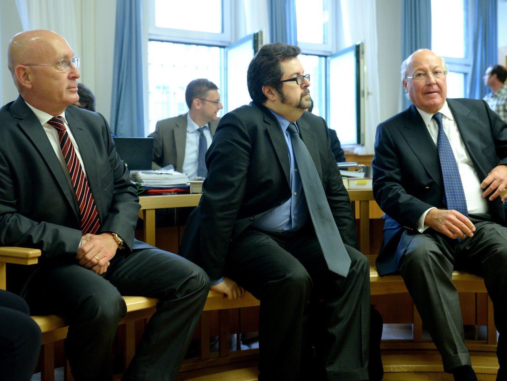 Telekom-V-Prozess um Schillerplatz-Immobilie: Ex-ÖBB-Chef Martin Huber, der ehemalige Telekom-Finanzchef Stefano Colombo und der ehemalige Telekom-Chef Heinz Sundt.