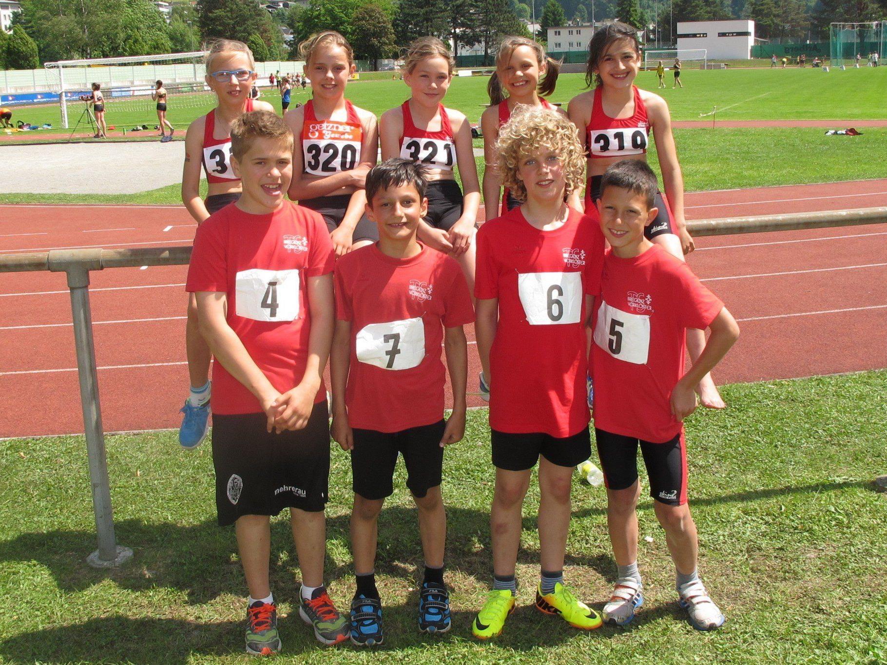 Die Leichtathleten bei der U-12-Meisterschaft in Bludenz.