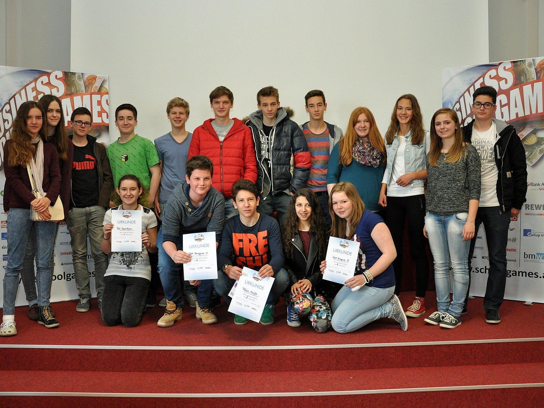 Die besten Teams aus Vorarlberg vertreten das Ländle beim Bundesfinale der Business Schoolgames am 23. Mai in Wien.