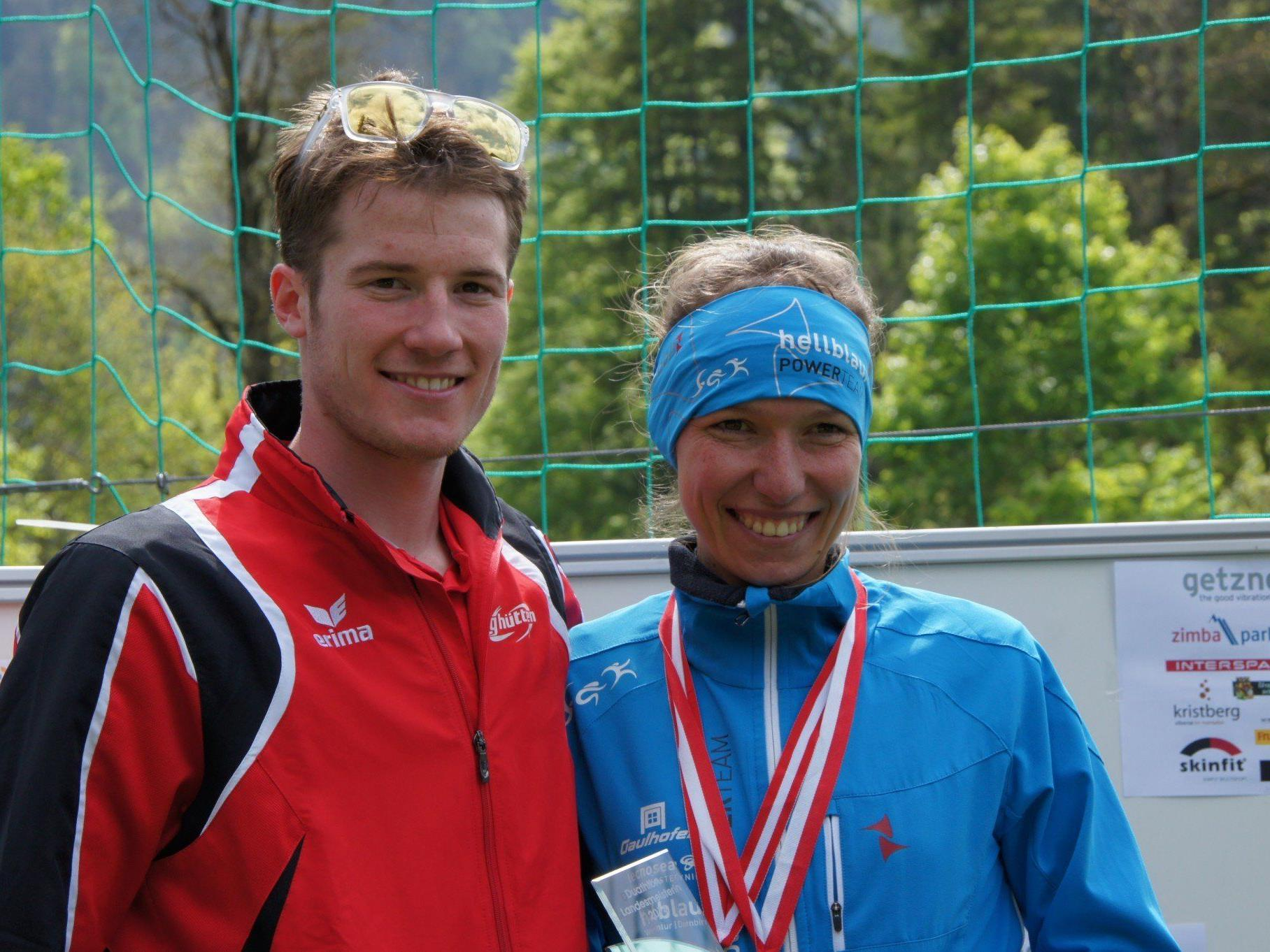 Denise Neufert und Martin Bader heißen die neuen Landesmeister im Duathlon.