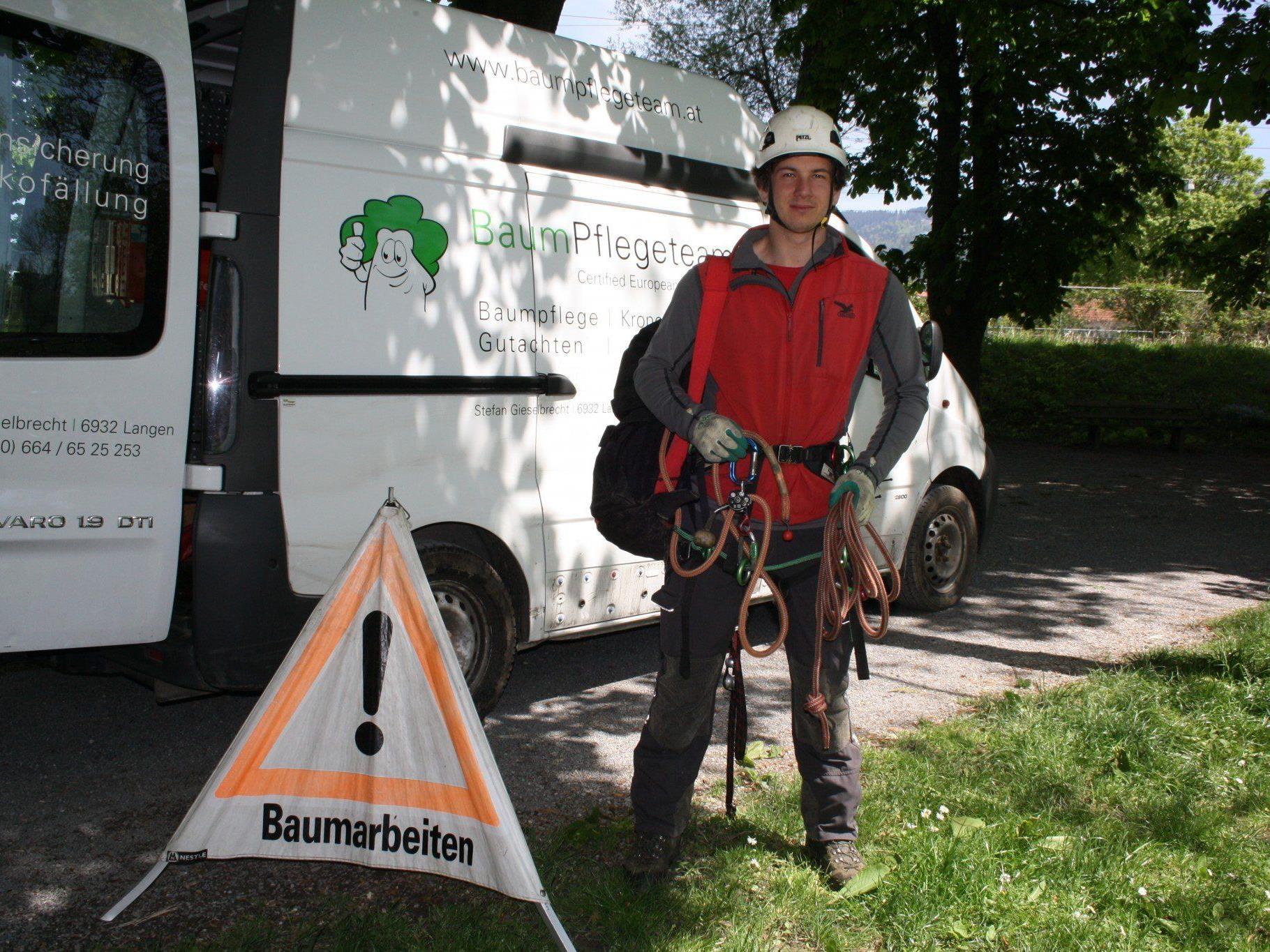 """In oft schwindelnder Höhe sind die Baumpfleger vom """"Baum Pflegeteam Langen"""" fachmännisch von Ast zu Ast unterwegs."""