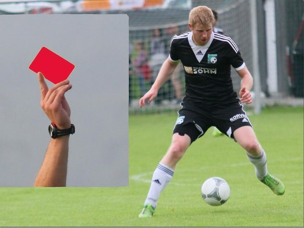 Alberschwende-Kicker Stefan Betsch erhielt die Rote Karte und wird gegen Rankweil fehlen.