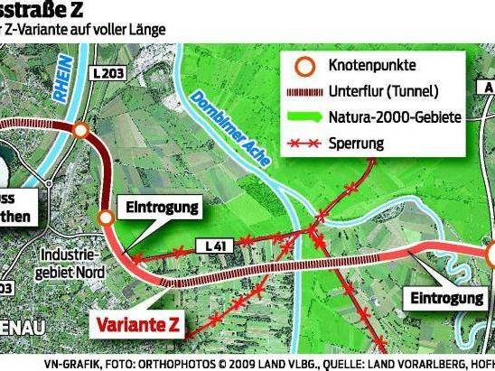 So ist die Variante Z durch Lustenau geplant.