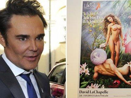 Fotograf David Lachapelle besuchte Wien, wo sein umstrittenes Sujet plakatiert ist