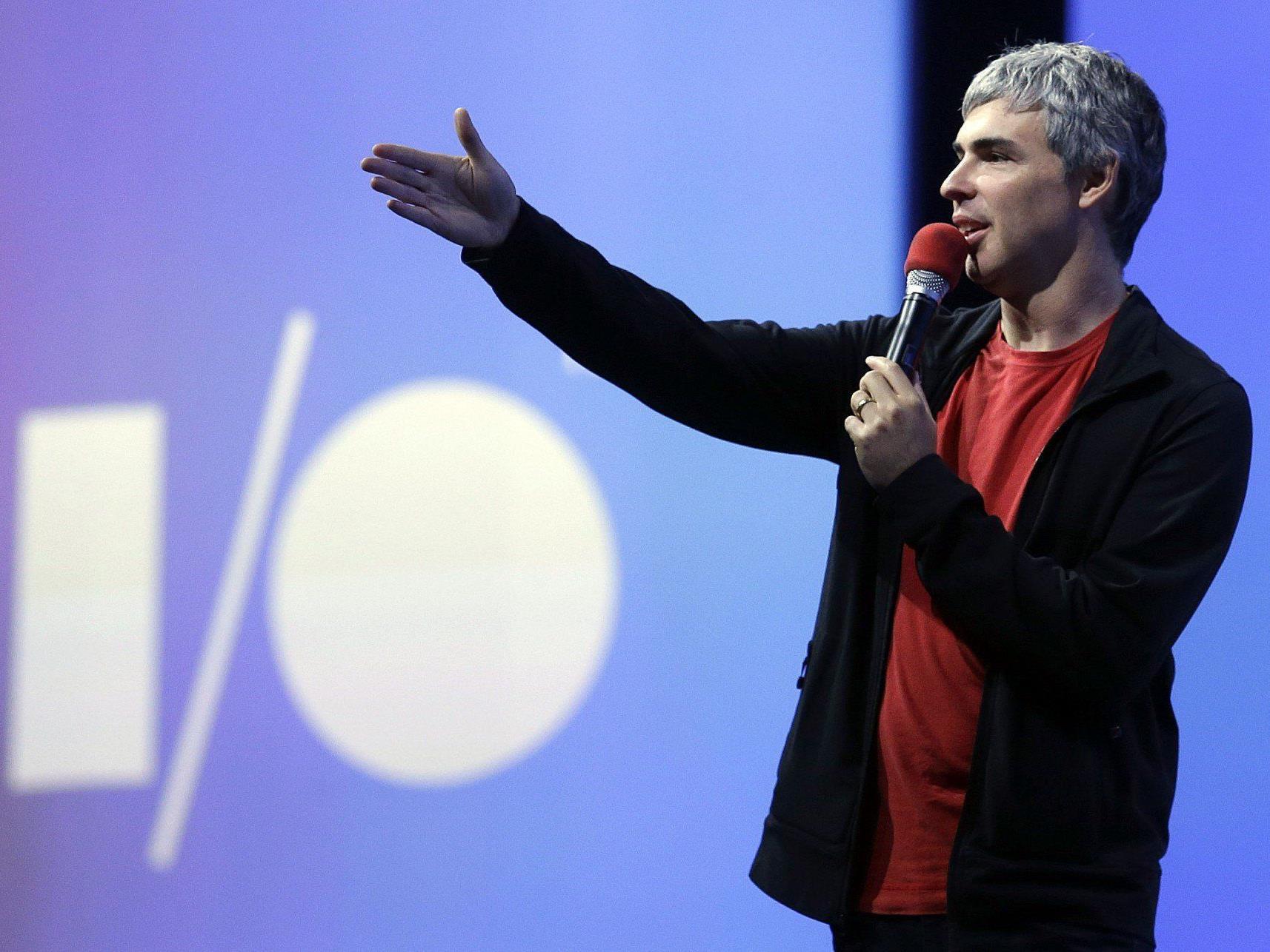 Die zentrale Keynote der Google I/O 2014 live im Netz. Hier Larry Page bei der Eröffnung 2013.