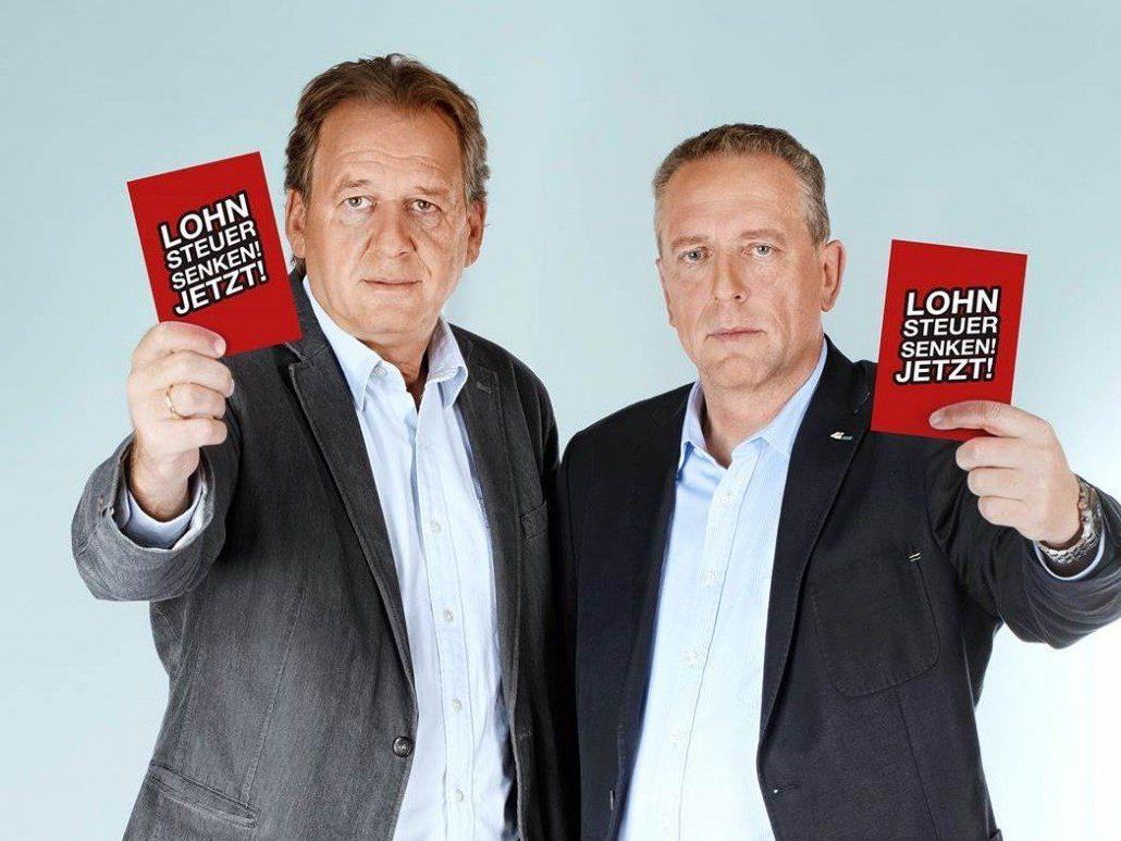 Die schwarzen Arbeiterkammer-Präsidenten Erwin Zangerl und Hubert Hämmerle lassen bei den Steuern nicht locker.