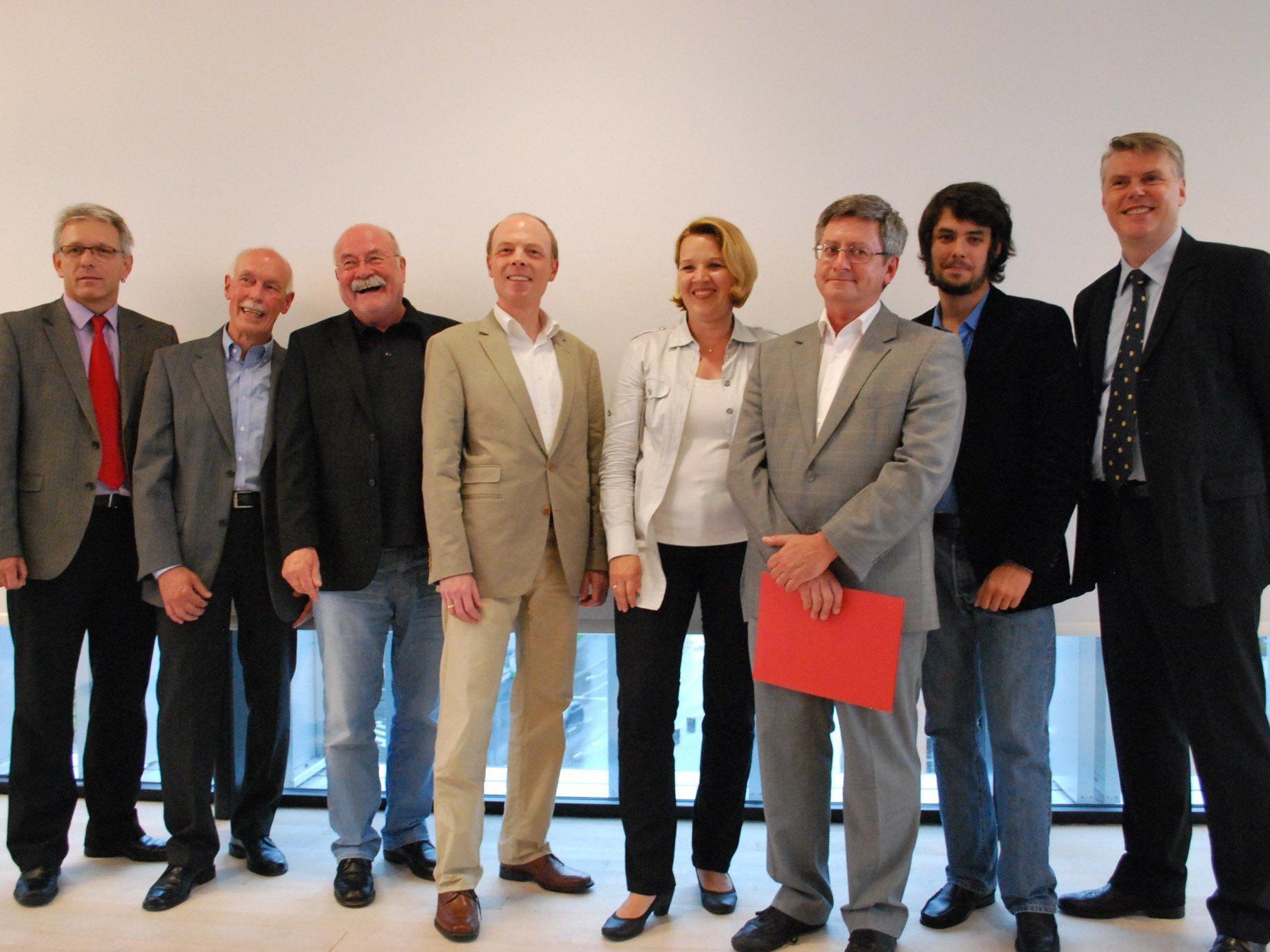 Udo Rainer, Anton Ulmer, Nolde Luger, Harald Rhomberg, BM Andrea Kaufmann, Christoph Volaucnik, Ulrich Wendl, Werner Matt (vl)