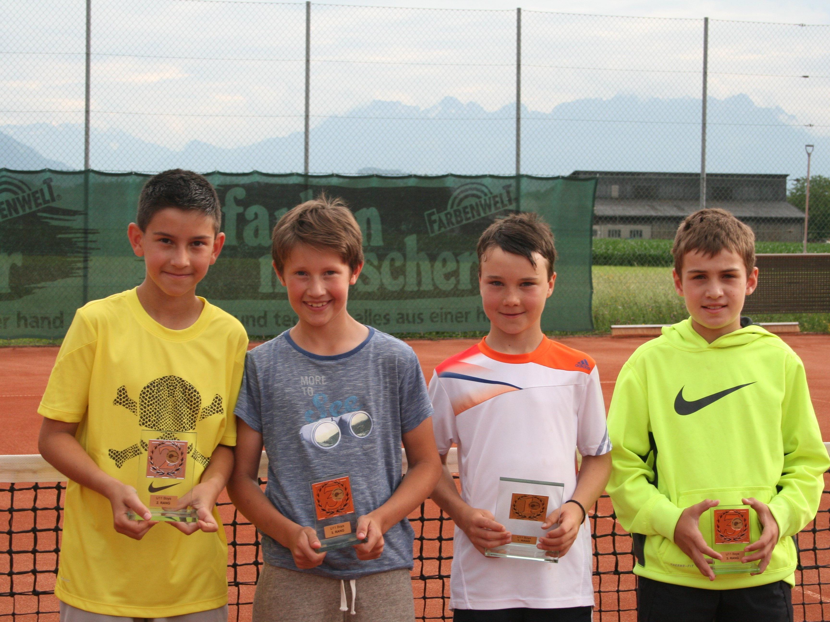 v.l. Alex Dzuvelekovic (2.), Jonas Keck (3.), Moritz Kudernatsch (1.), Moritz Nettinger (3.) Kids U 11