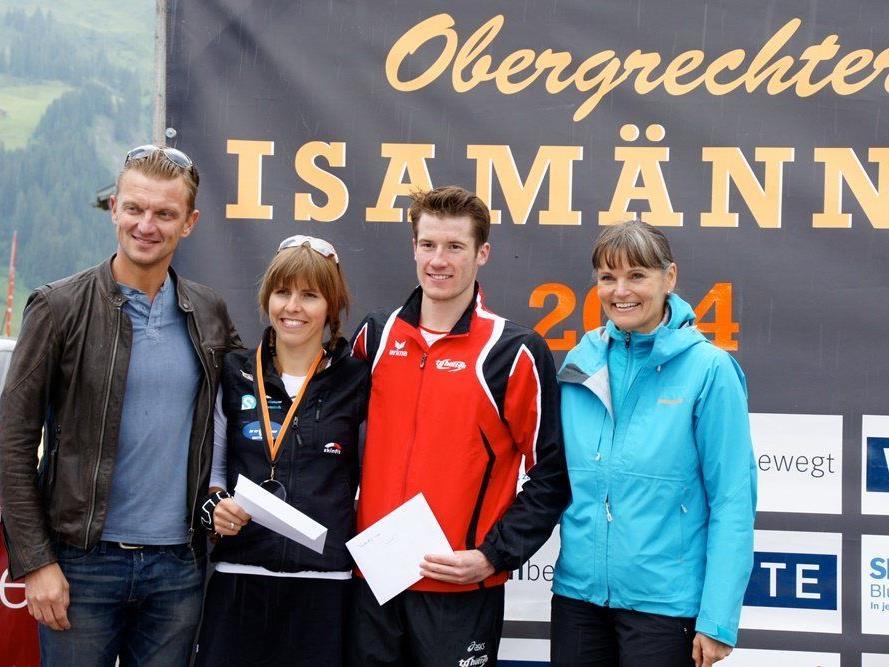 Bianca Steurer aus Schwarzenberg und der Dornbirner Martin Bader siegen beim Isamännli.