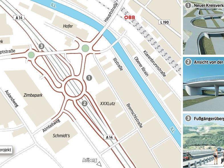 Errichtung von Kreisverkehren soll akute Verkehrsmisere zwischen Bludenz und Bürs beseitigen.