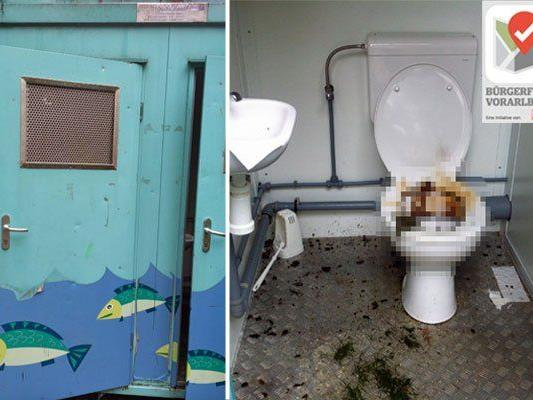Seit eineinhalb Wochen sei das WC am Spielplatz in einem bemitleidenswertem Zustand.
