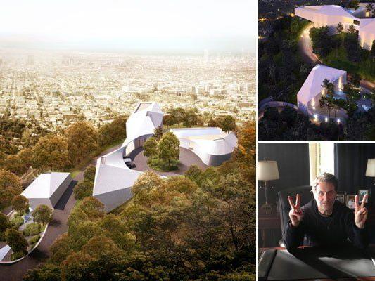 """Architektur aus Lustenau in den Hügeln von L.A. Im Bild unten rechts: Harald Kloser vor der Filmkulisse von """"White House down"""""""