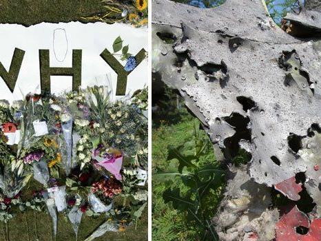 Letzte Blumengrüße vor dem Flugfeld von Eindhoven (l.) - ein von Schrapnell durchlöchtertes Wrackteil von MH17 (r.)