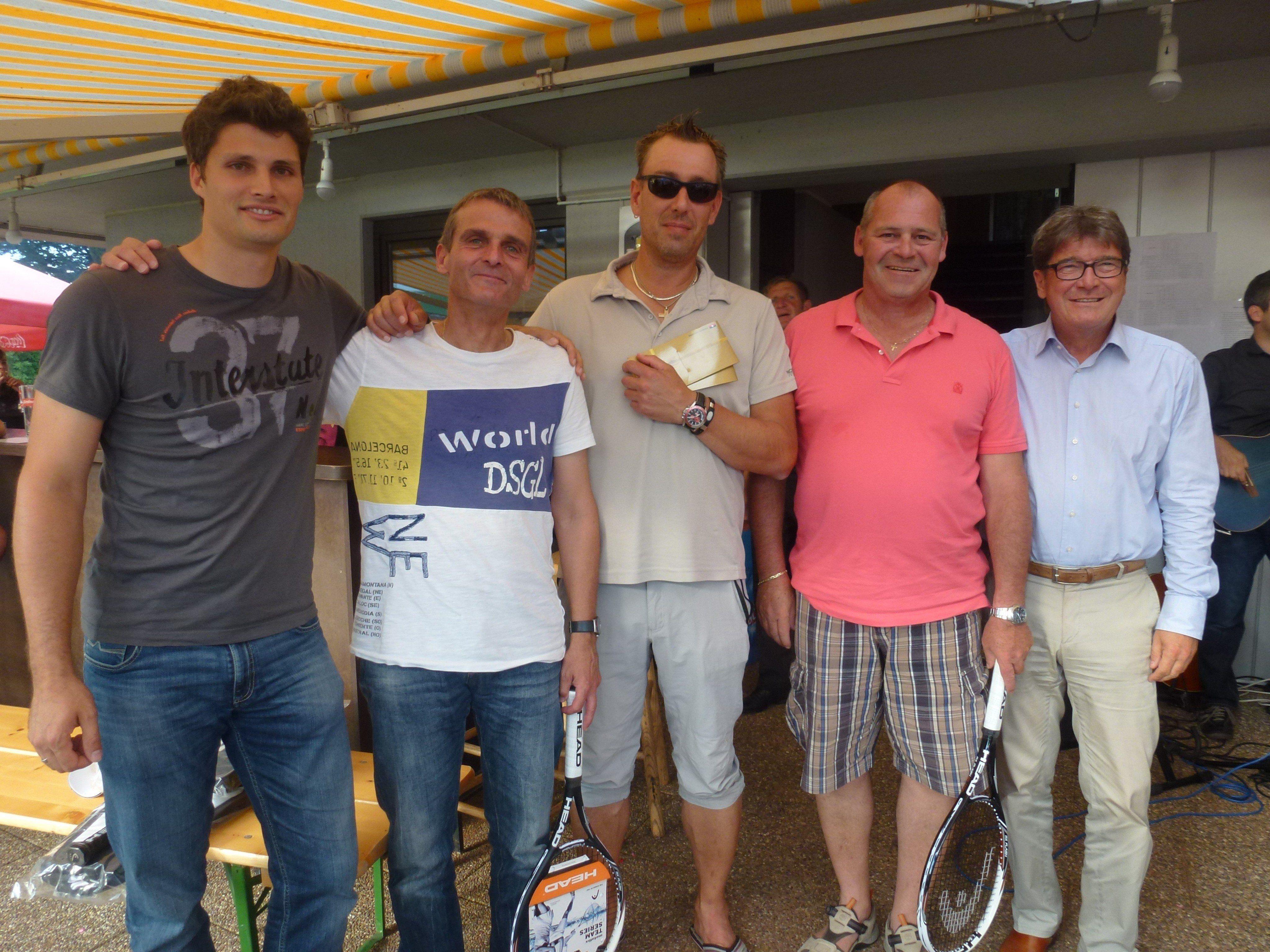Sportwart Benjamin Gschließer, Michael Kessler, Markus Huber, Helmut Gorbach, Präsident Willi Muzyczyn - Finalisten