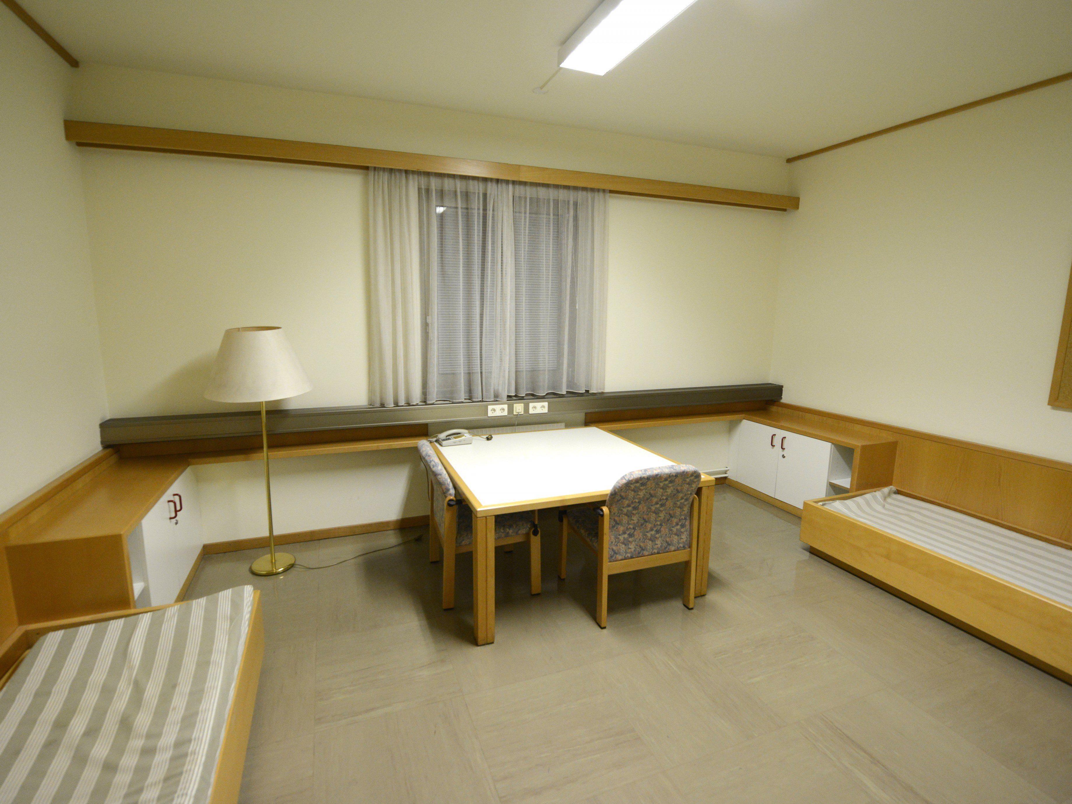 Blick in ein Zimmer des Asyl-Übergangsquartiers in Wien-Erdberg.