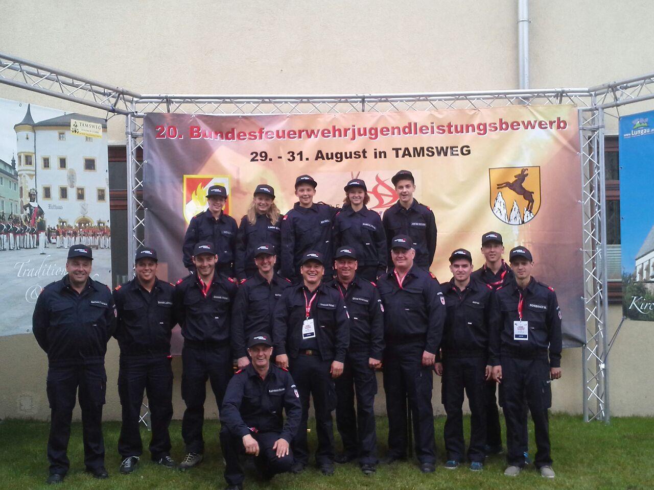Feuerwehrjugend Gisingen bei den Bundesfeuerwehrjugendleistungsbewerben in Salzburg.
