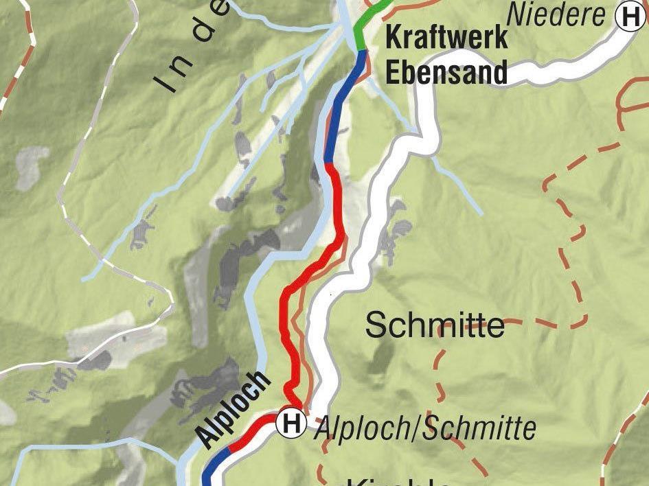 Ausschnitt Wasserleitung Ebnit-Alploch, rot markiert: Leitungsabschnitt, der heuer ausgetauscht wird.