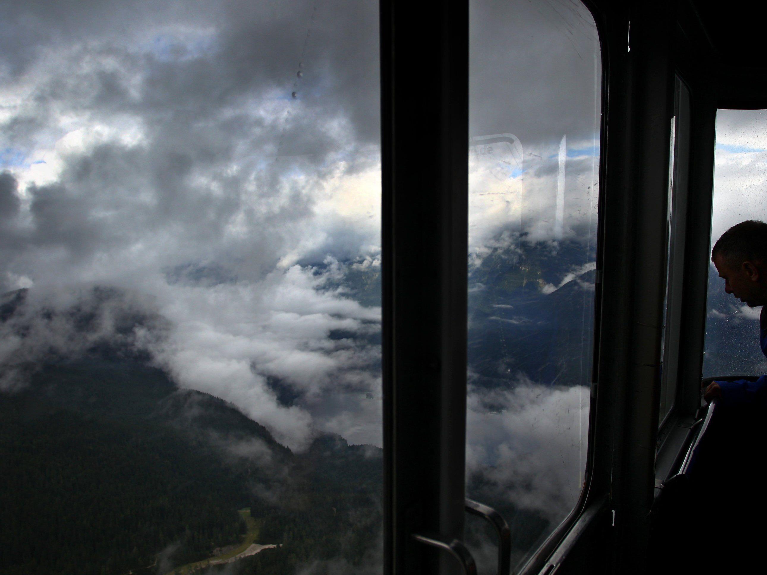 Blick aus einer Kabine der alten Eibseeseilbahn.