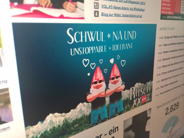Schwule Zwerge auf Internet-Sujets der SPÖ-Kampagne.