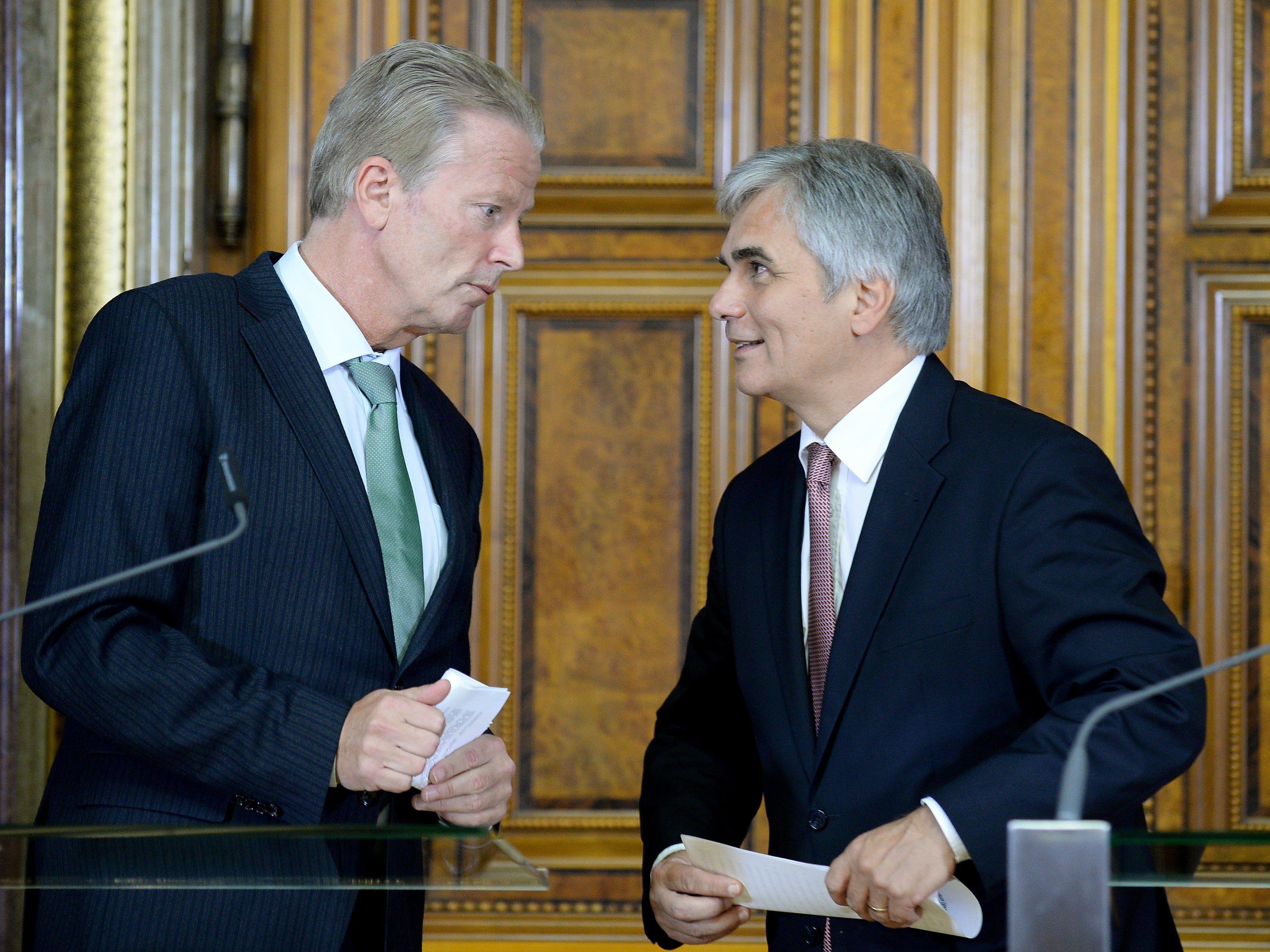 Steuerreform: Mitterlehner (l.) glaubt an einen Kompromiss mit der SPÖ.