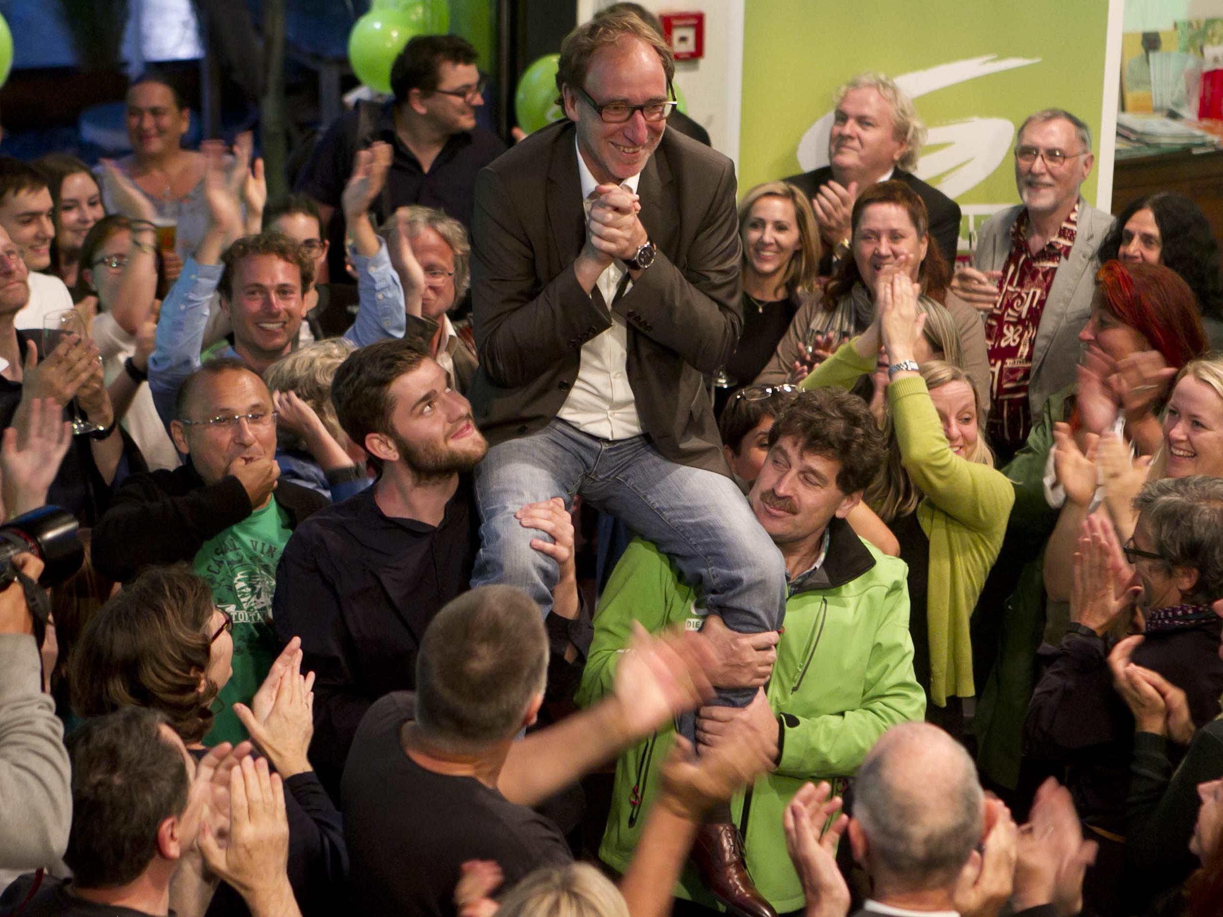 Nach dem fulminanten grünen Wahlsieg wurde ausgiebig gefeiert.