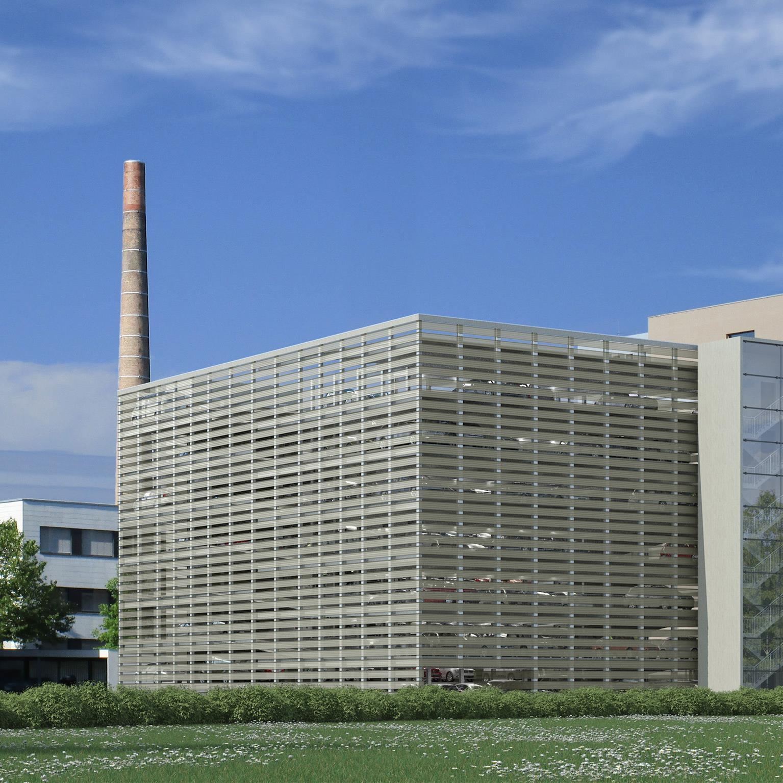 Blick in die Zukunft: Ab Dezember 2014 bietet das Parkhaus (hier eine Visualisierung) 240 neue Stellplätze für die Mieter in Rhomberg's Fabrik.