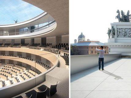 Eine Illustration zeigt den geplanten Nationalratssitzungssaal (l.) und die Terrasse/Gästepanorama (r.) im Rahmen der Sanierung des Parlamentsgebäudes