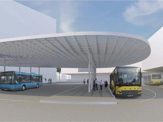 So soll der künftige Busbahnhof am Fritz-Mayer-Platz in Bregenz aussehen.