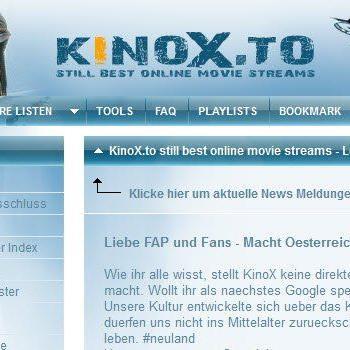 Die Seite kinox.to verlinke auf raubkopierte Medieninhalte wie aktuelle Kinofilme