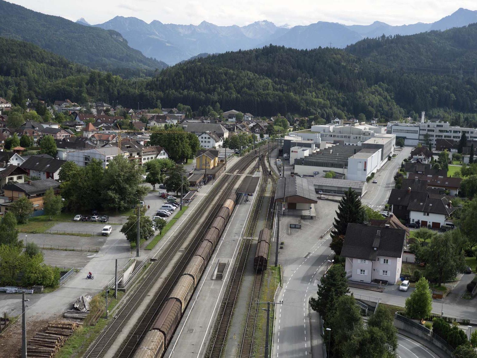 Der Bahnhof Rankweil aus der Vogelperspektive