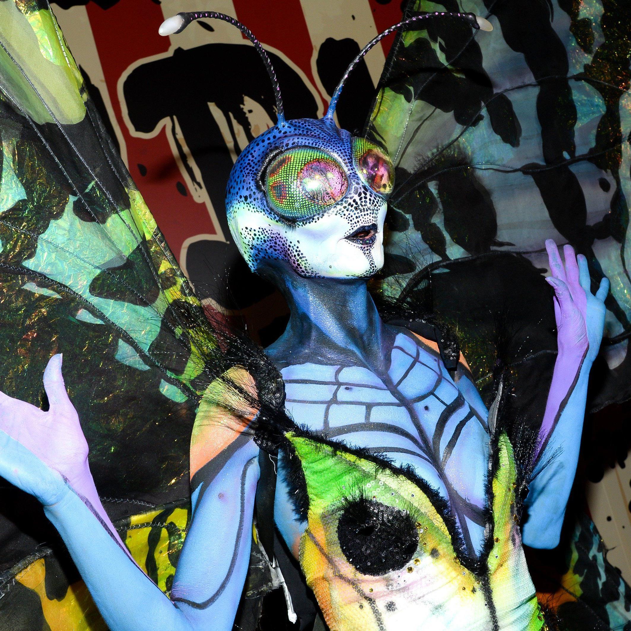 Heidi Klum als Schmetterling bei ihrer bereits 15. Halloween-Party in New York.
