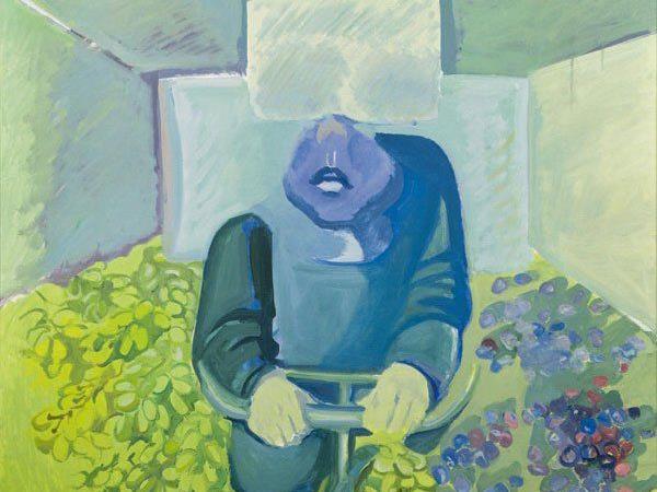 """Das 1967 entstandene Gemälde """"Brettl vor dem Kopf"""" von Maria Lassnig."""