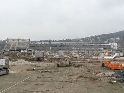 So schaut es aktuell auf der Baustelle im Rapid-Stadion aus.