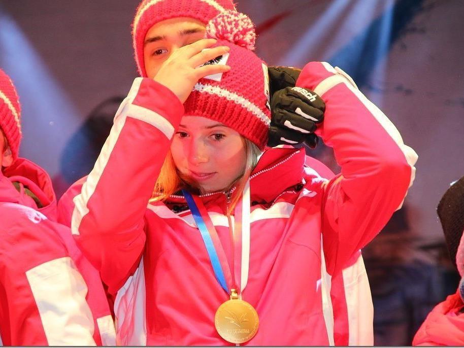 Gold für Katharina Liensberger im Teambewerb der EYOF im Montafon.