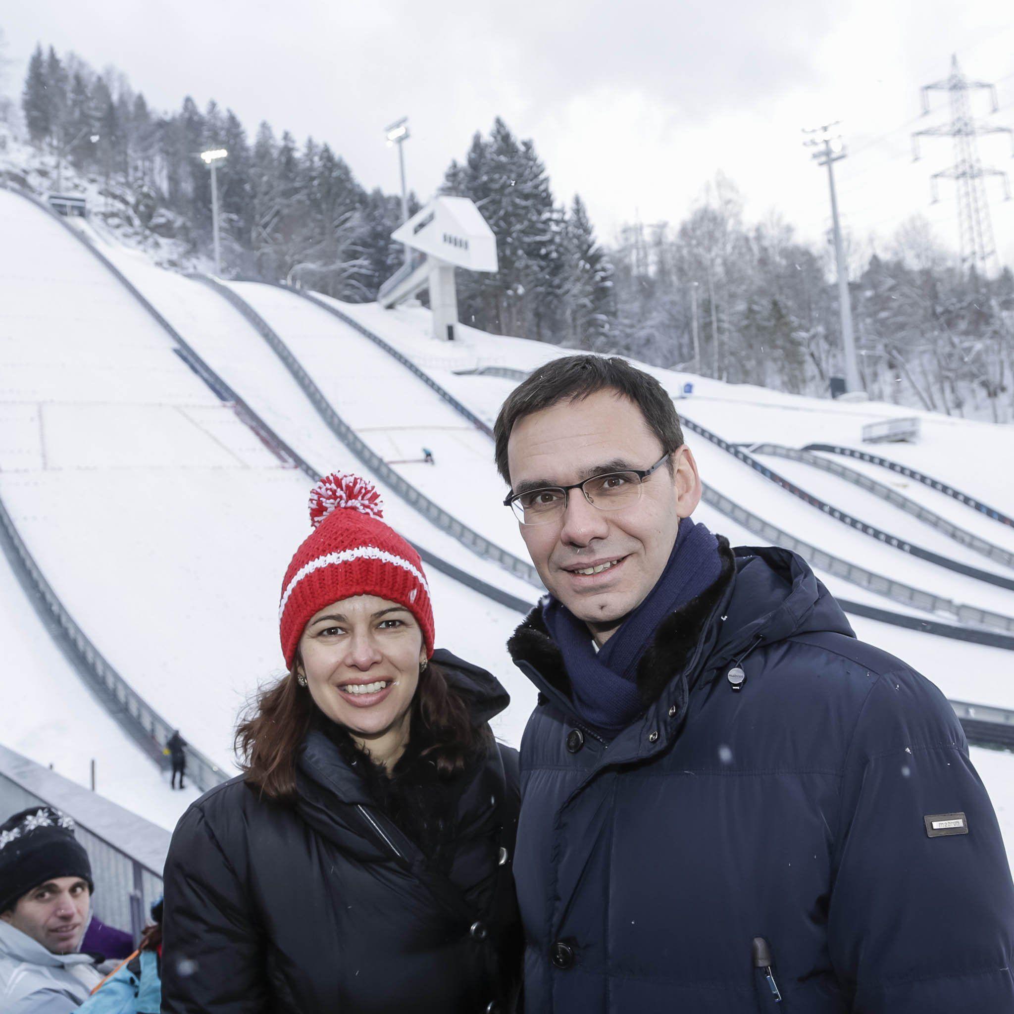 Ministerin Sophie Karmasin und Landeshauptmann Markus Wallner im Schanzenzentrum Montafon Nordic in Tschagguns