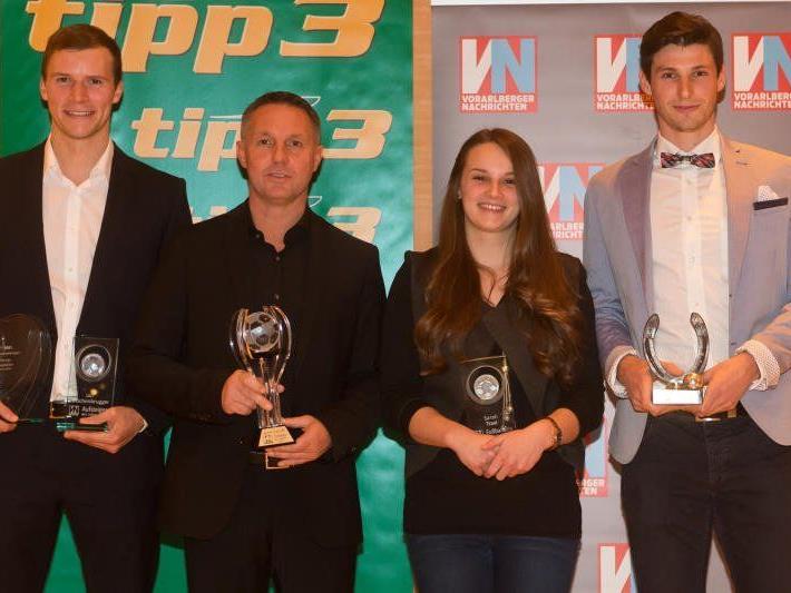 Freuten sich über ihre Auszeichnungen, v. l.: Jan Zwischenbrugger, Damir Canadi, Sarah Traxl und Benedikt Zech.