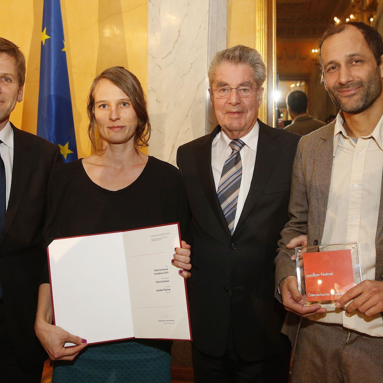 Offizielle Preisverleihung in den Prunksälen der Wiener Hofburg durch Bundespräsident Heinz Fischer und Kulturminister Josef Ostermayer