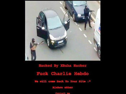 """Fuck Charlie Hebdo - We will come back to your site"" auf Startseite."